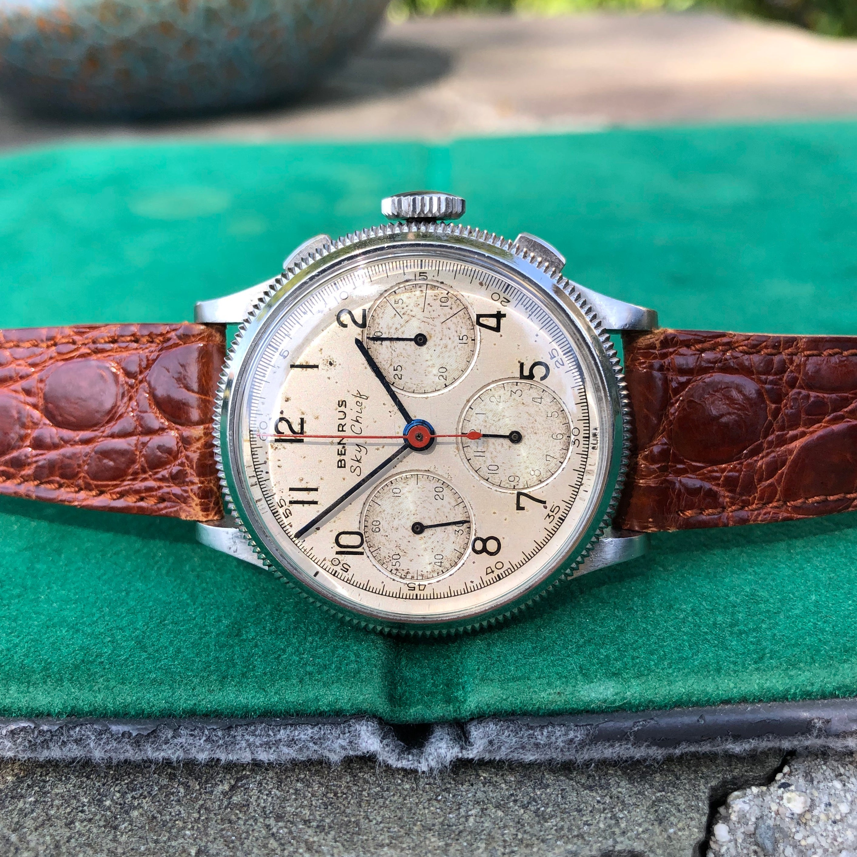 Vintage Benrus Sky Chief Chronograph Valjoux 71 Stainless Steel Wristwatch - Hashtag Watch Company