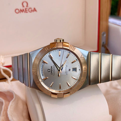 Omega Constellation 12320382202001 Two Tone Red Gold Steel Silver Dial Day Date Box & Papers