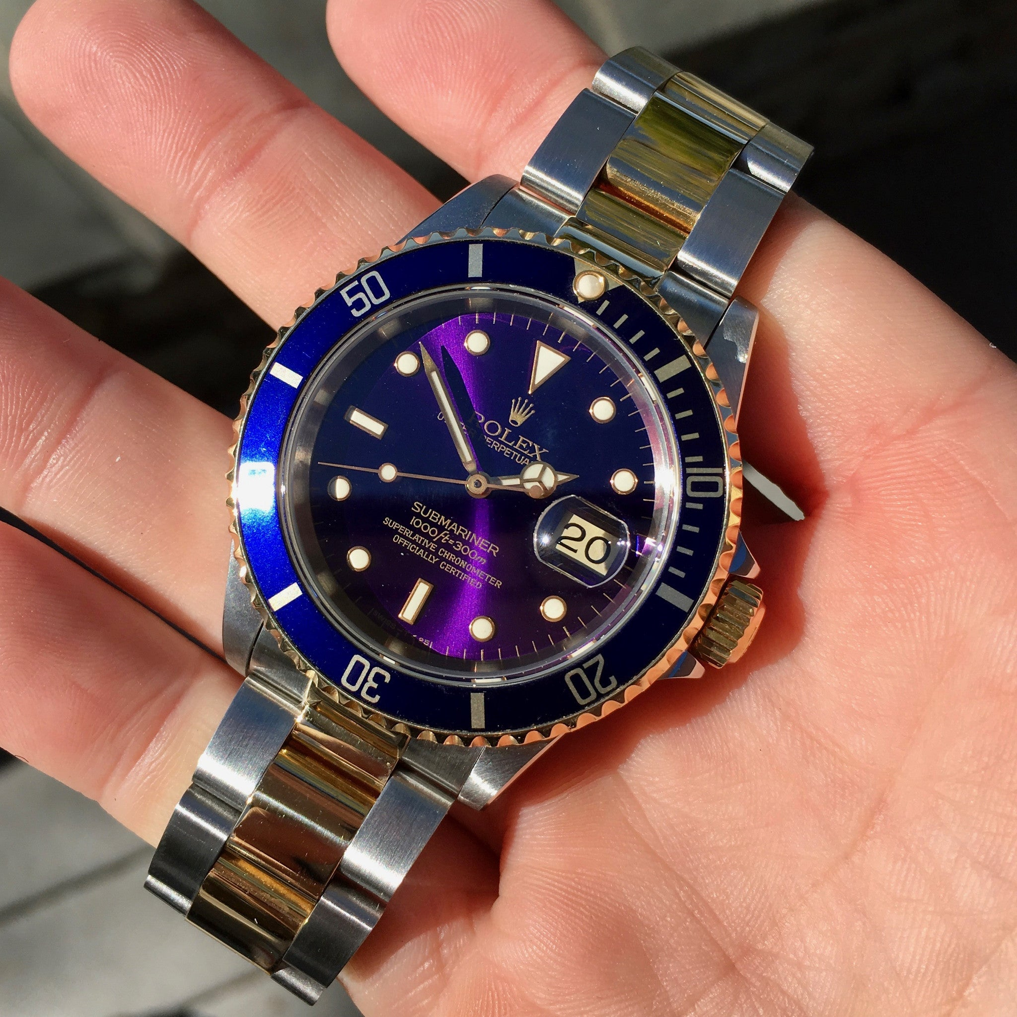"Rolex Submariner 16613 Two Tone Purple Color Change Steel 18K Gold ""S"" Serial 1993 Wristwatch - Hashtag Watch Company"