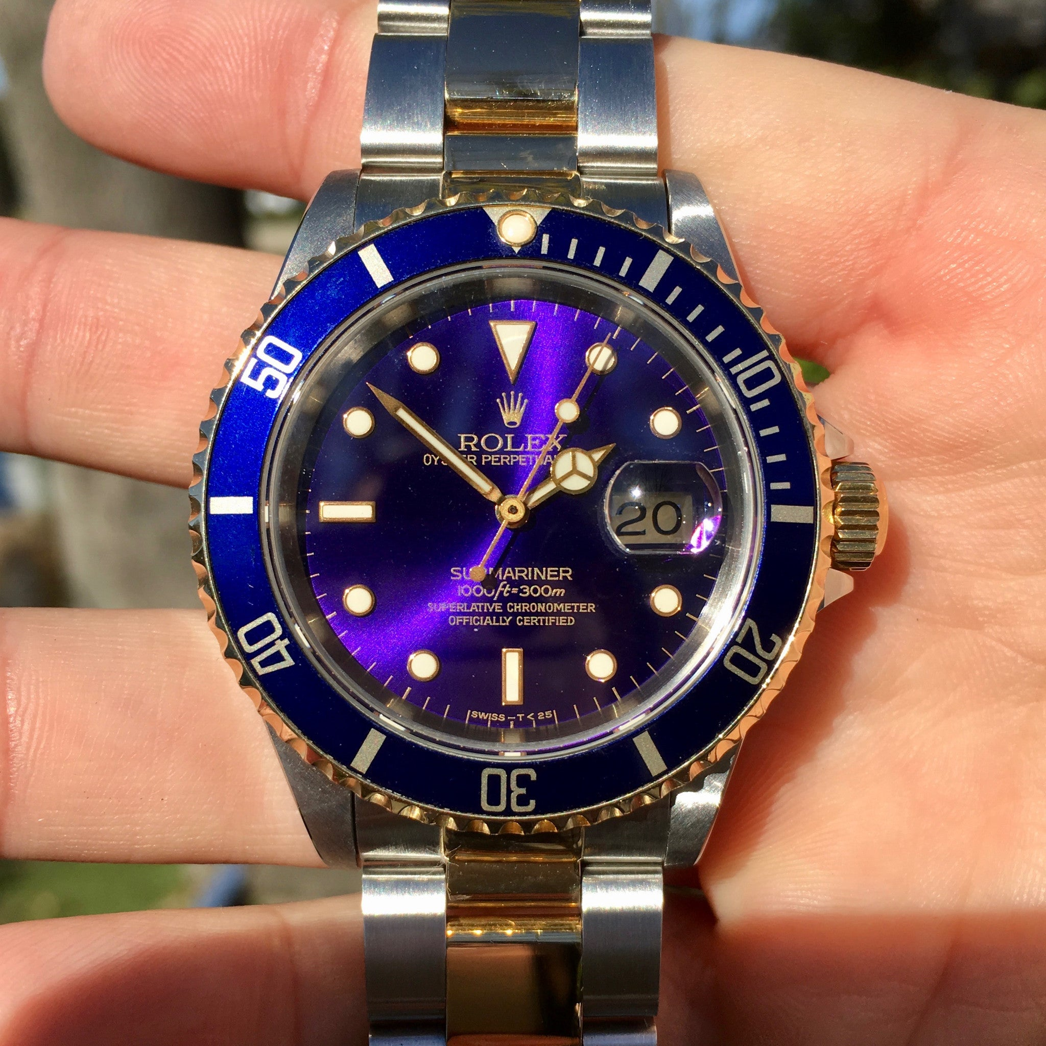 Rolex Submariner 16613 Two Tone Purple Color Change Steel
