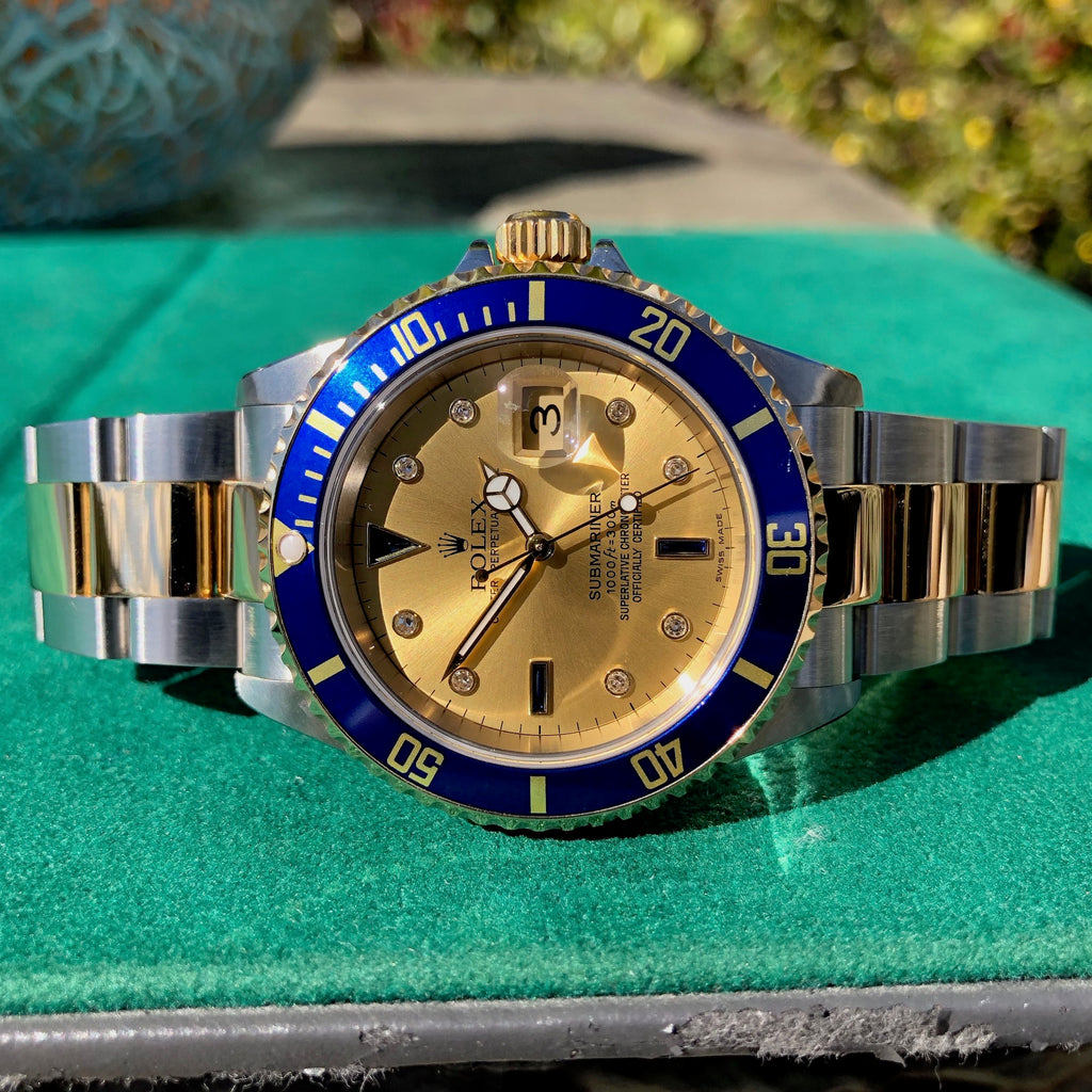 Rolex Submairner 16613 Serti Two Tone Stainless Steel Gold Diamond Champange Sapphire Wristwatch Box Papers