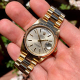 Rolex President 18238 Day Date 18K Yellow Gold Silver Stick