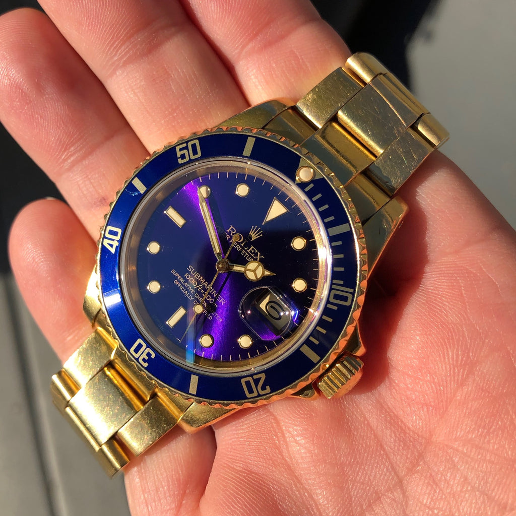 Vintage Rolex Submariner 16808 Purple Tropical 18K Yellow Gold Wristwatch Circa 1981