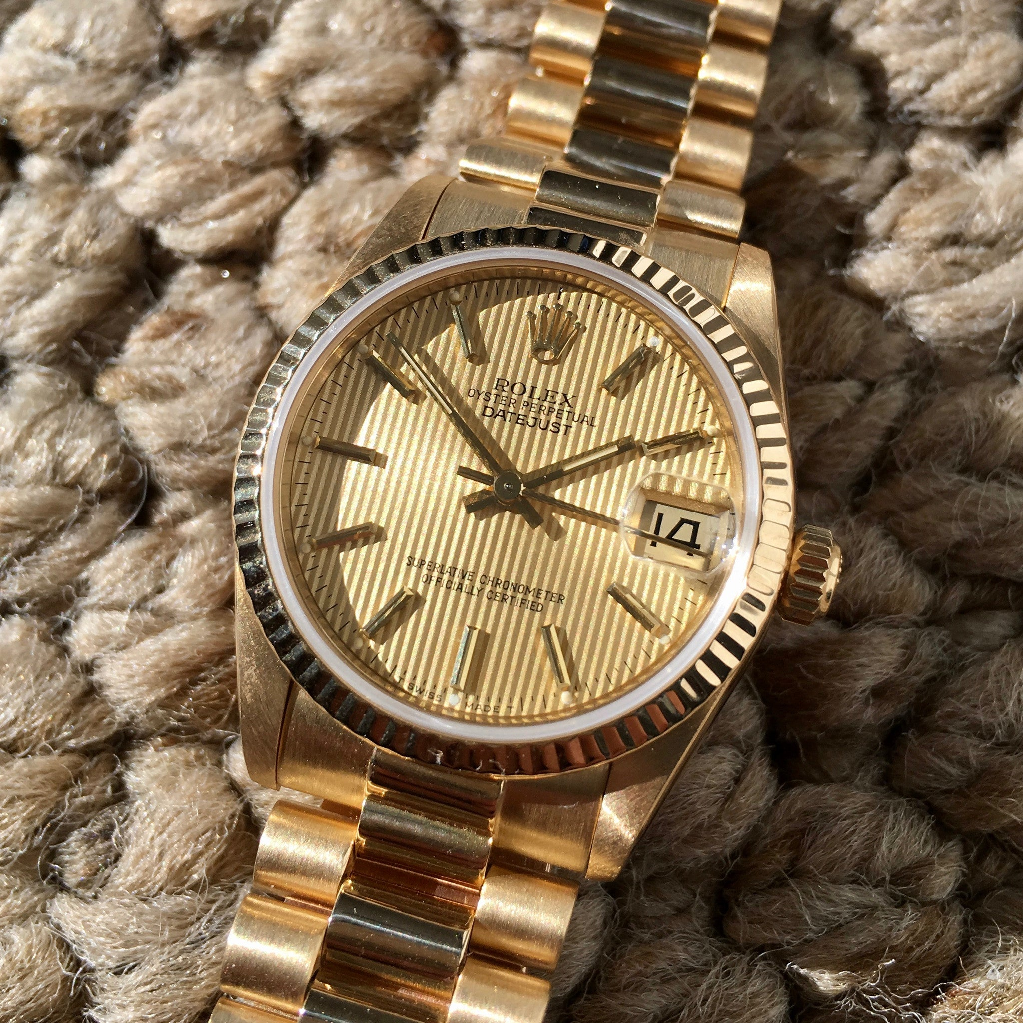 Rolex Ladies President 68278 Midsize Datejust 31mm 18K Yellow Gold Tapestry Champagne Wristwatch - Hashtag Watch Company