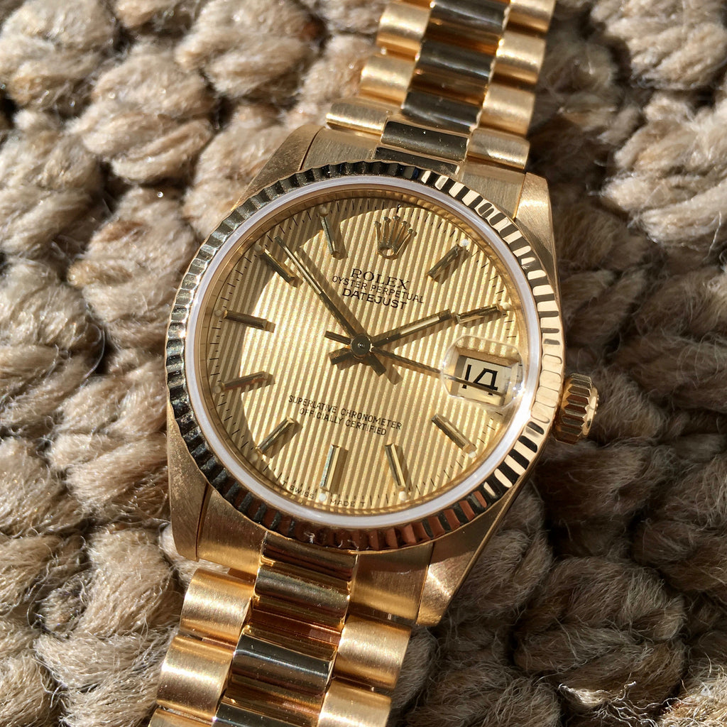 Rolex Ladies President 68278 Midsize Datejust 31mm 18K Yellow Gold Tapestry Champagne Wristwatch