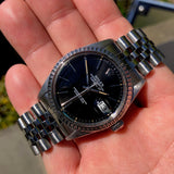 Vintage Rolex Datejust 16030 Black Stick Engine Turned Wristwatch Box Papers Circa 1985
