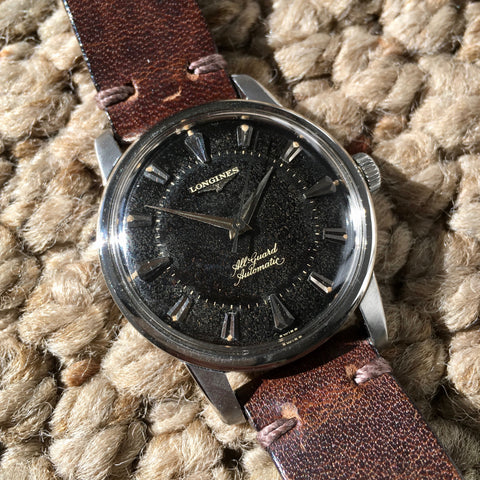 Vintage Longines All-Guard Automatic 9006-2 Gilt Black Cal. 19AS Steel Wristwatch