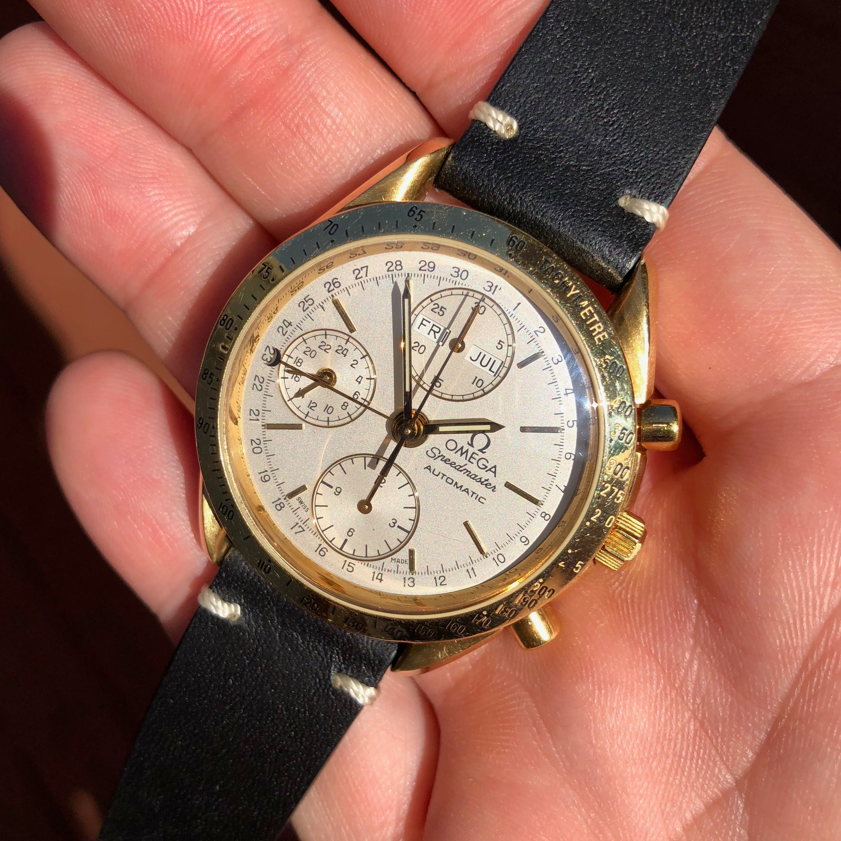 Omega Speedmaster 175.0044 18K Yellow Gold Day Date Chronograph Wristwatch - Hashtag Watch Company