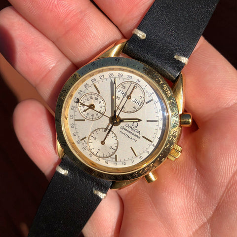 Omega Speedmaster 175.0044 18K Yellow Gold Day Date Chronograph Wristwatch