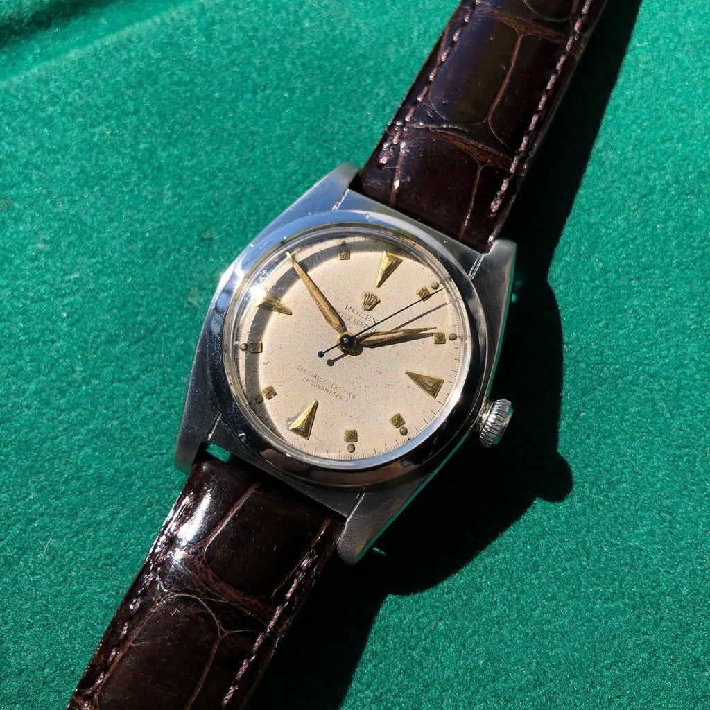 Vintage Rolex Bubbleback 2940 Stainless Steel Automatic Chronometer Watch Circa 1945