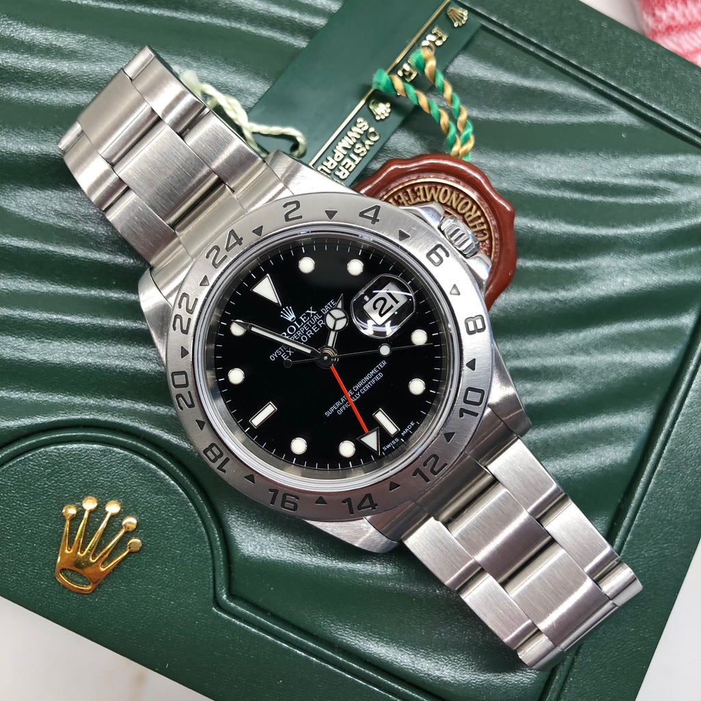 Rolex Explorer II 16570 Stainless Steel GMT Oyster F Serial Wristwatch Box Papers Circa 2003