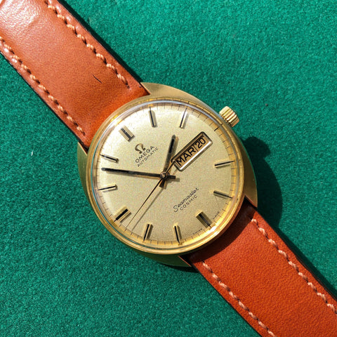 Vintage Omega Seamaster Cosmic 166.049 Day Date 18K Yellow Gold Cal. 752 Automatic Wristwatch
