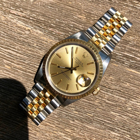 Rolex Date 15223 Oyster Perpetual Two Tone Steel Gold Jubilee Wristwatch Circa 1989