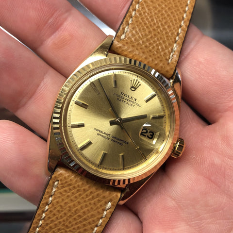 Rolex President 18038 Day Date 18K Yellow Gold Champagne Stick Circa 1983 Caliber 3055 Wristwatch