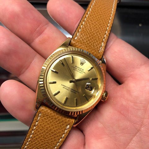 1969 Vintage Rolex Datejust 1601 18K Yellow Gold Champagne Automatic Wristwatch Guarantee Booklets