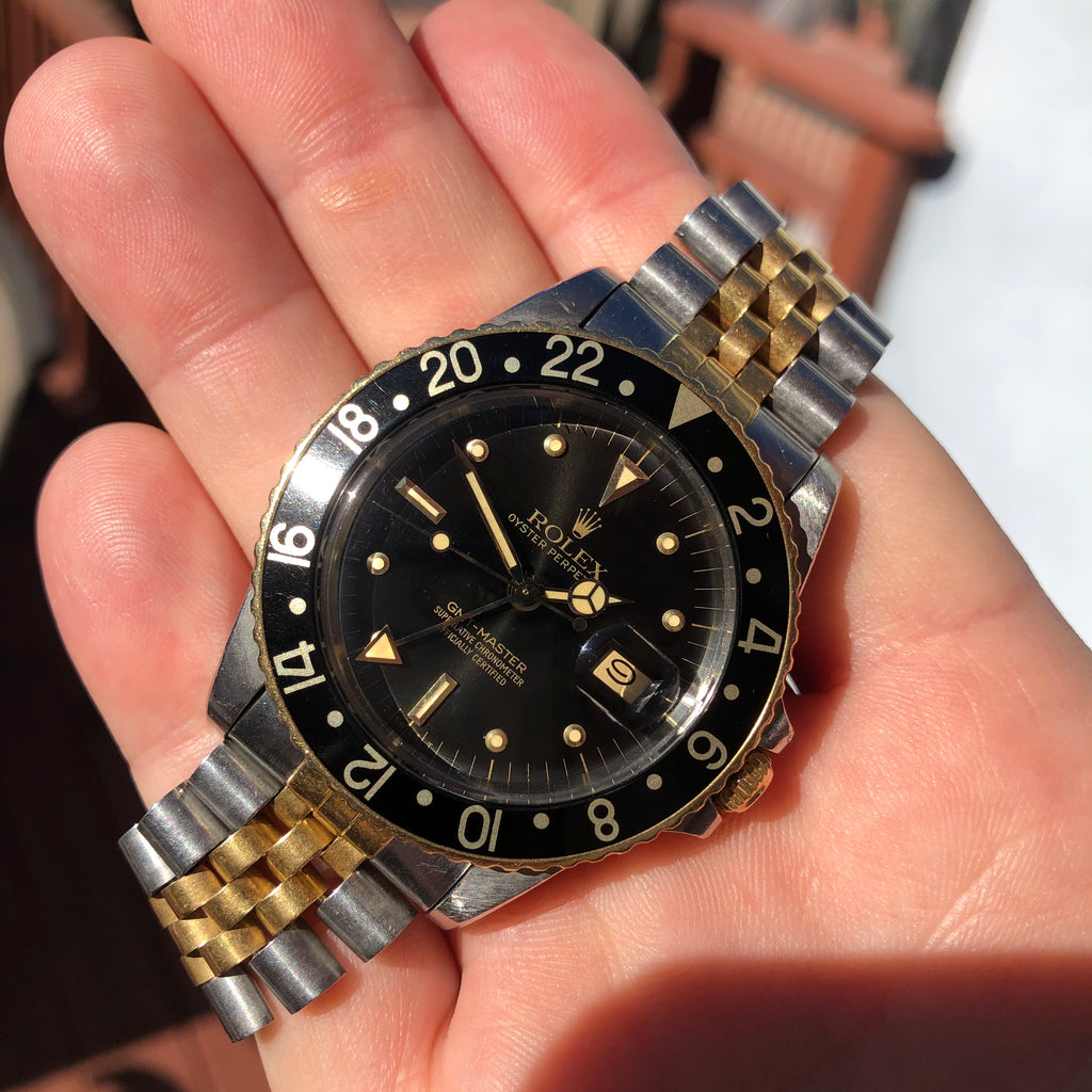 1984 Vintage Rolex GMT MASTER 16753 Black Nipple Tiger Eye Two Tone Jubilee Wristwatch - Hashtag Watch Company