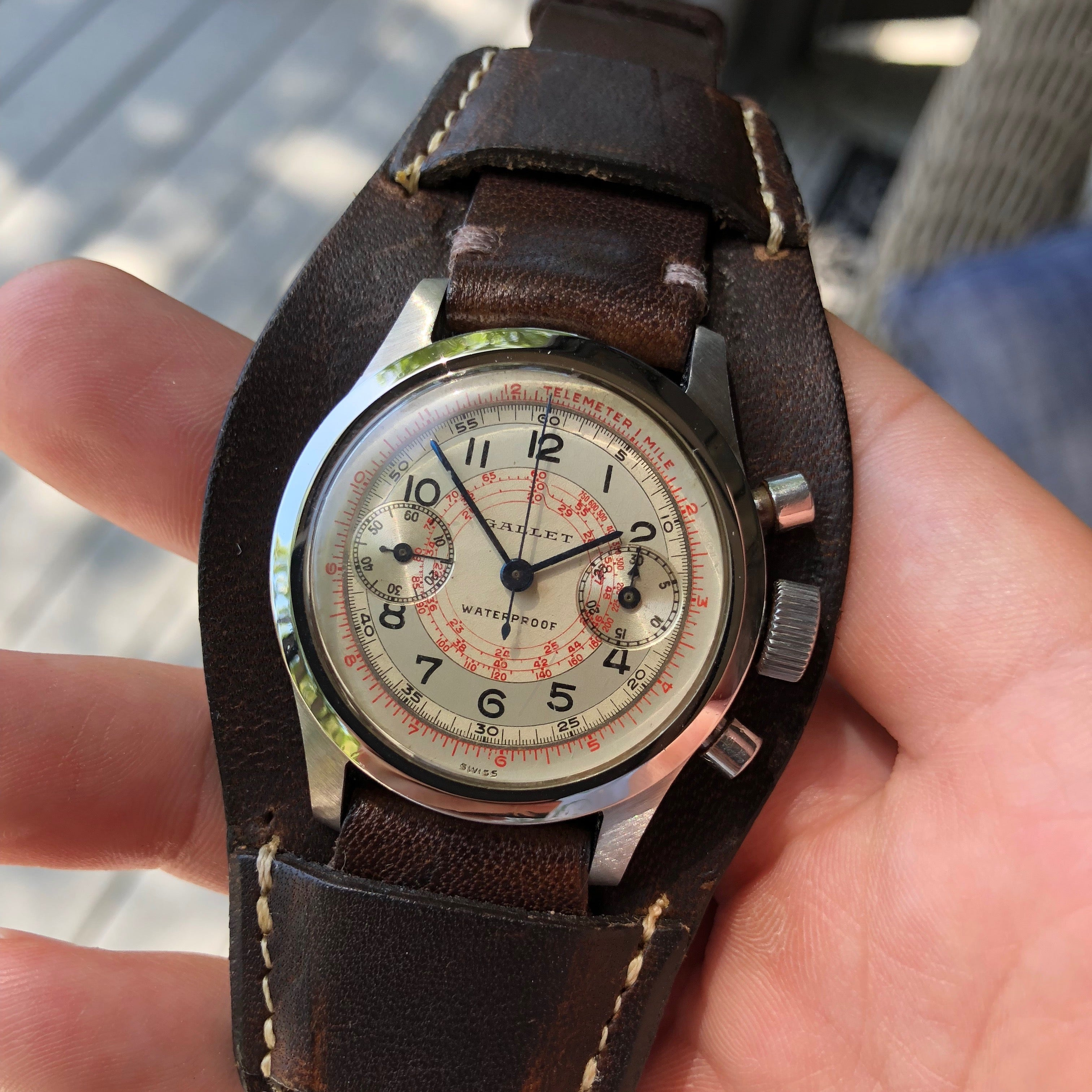 Vintage Gallet MultiChron 30M Clamshell Stainless Steel Chronograph Wristwatch
