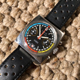 Vintage Alyson Steel Chronograph Vajloux 7734 Manual Wind Black Dial Wristwatch - Hashtag Watch Company