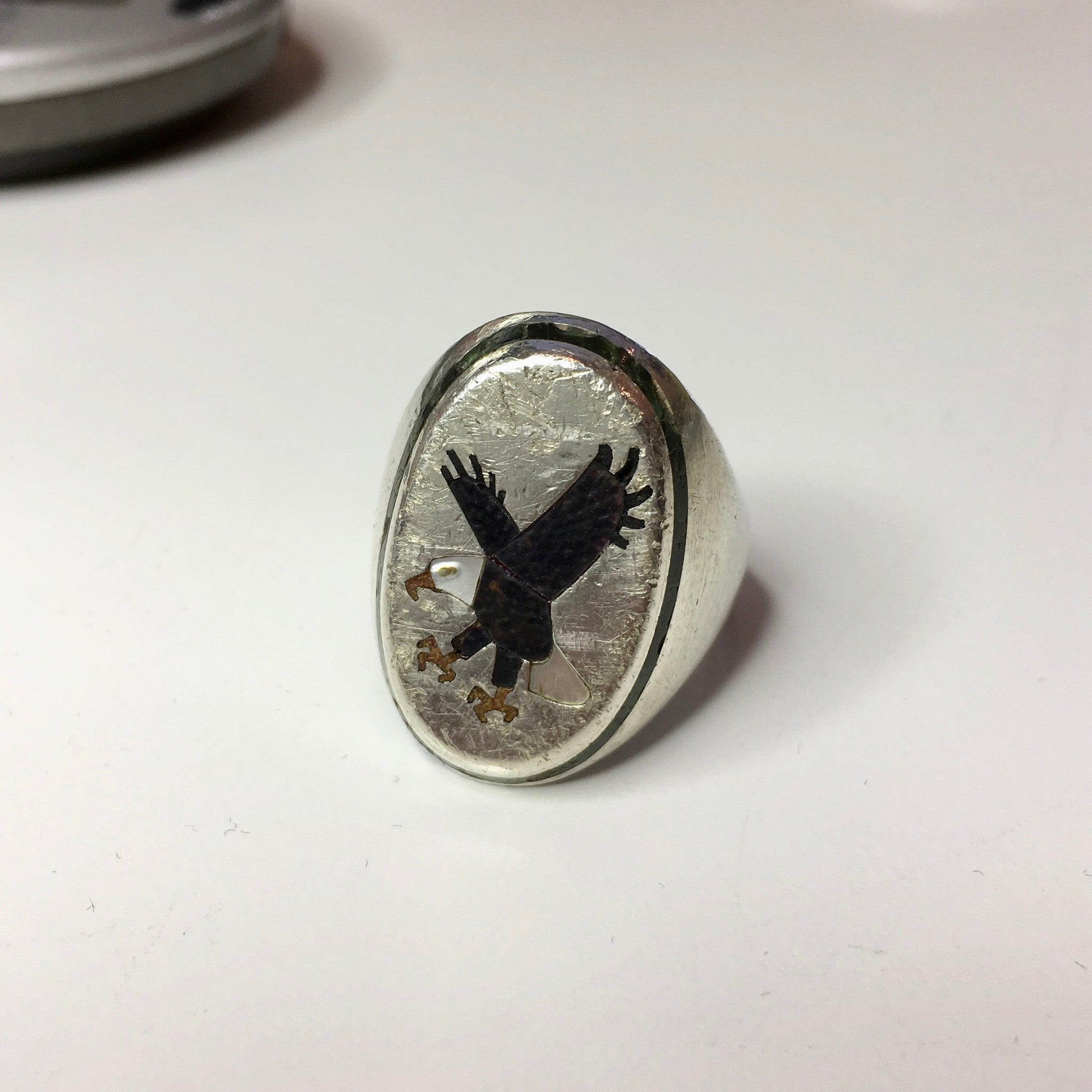 Vintage Sterling Silver Eagle Bald Eagle Mother of Pearl Turquoise Enamel BB Ring