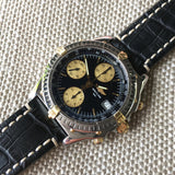 Breitling Chronomat B13050.1 Chronograph Two Tone Steel Gold Black Automatic Wristwatch