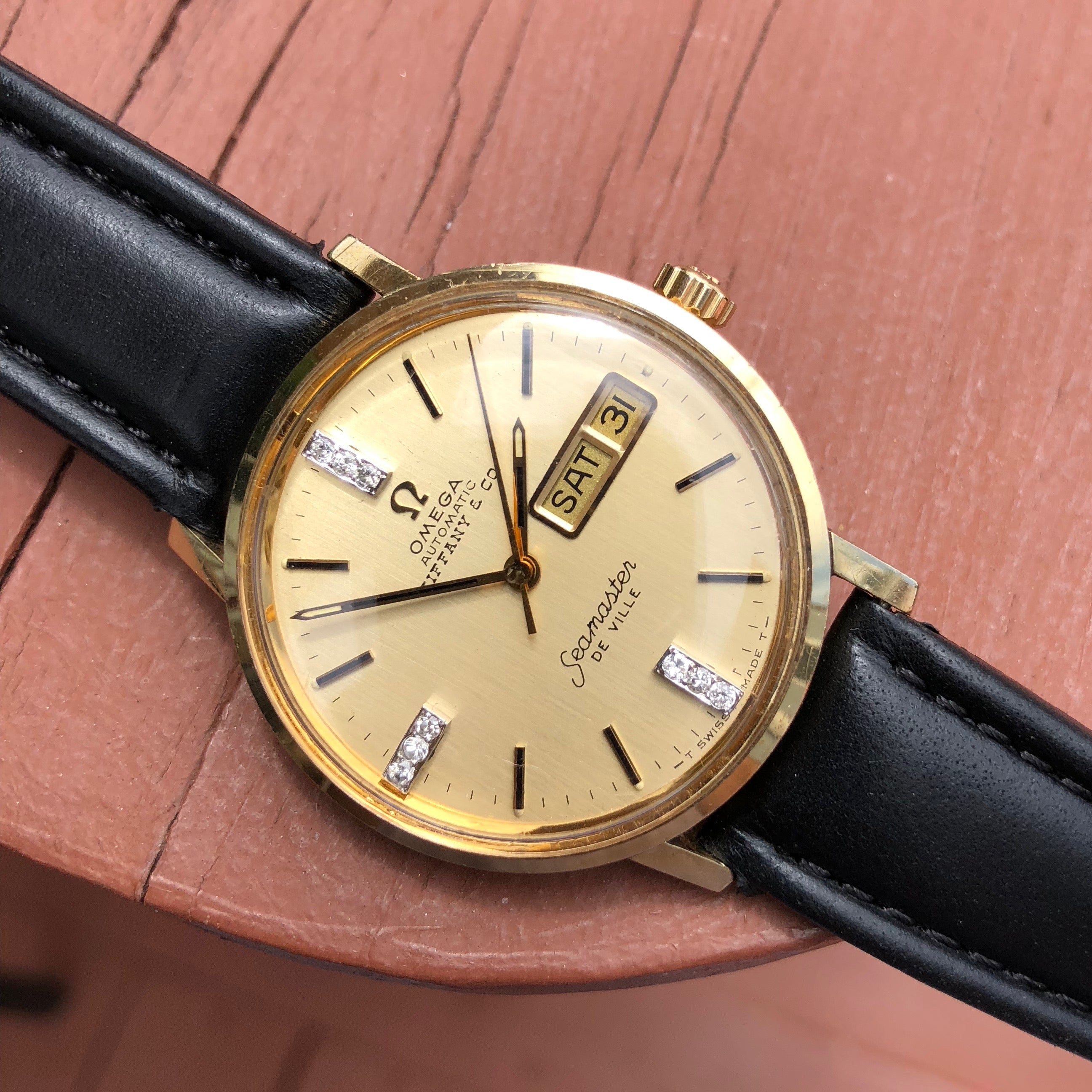 Vintage Omega Seamaster DeVille Day Date Tiffany & Co. 14K Gold Diamond Watch - Hashtag Watch Company