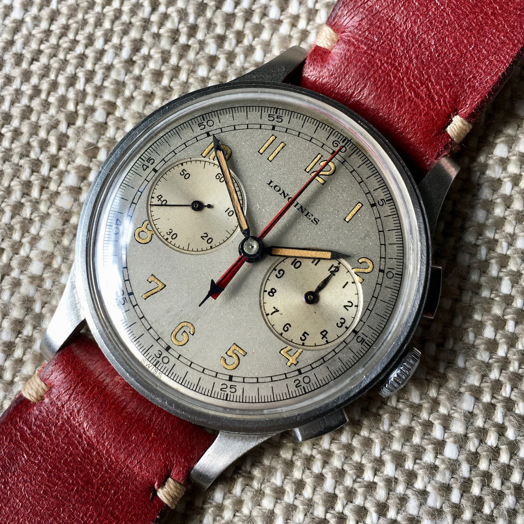 Vintage Longines 13ZN Steel Chronograph Center Minutes Recorder Wristwatch 1940