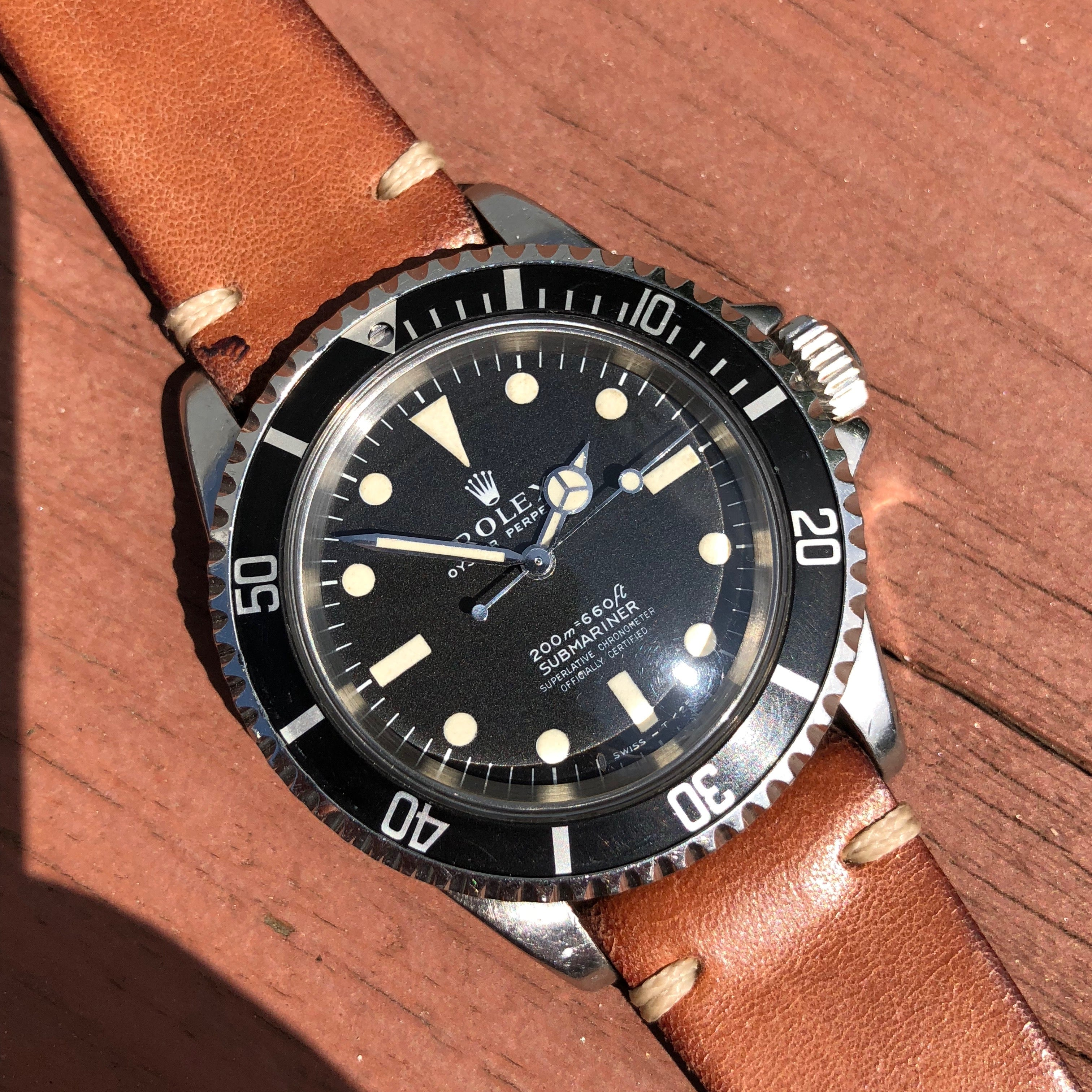 Vintage Rolex Submariner 5512 Meters First Cream Patina Automatic Cal 1570 Wristwatch Circa 1965 - Hashtag Watch Company