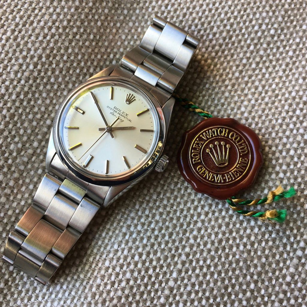 Vintage Rolex Air King 5500 Stainless Steel 1980 Caliber 1520 Automatic Wristwatch
