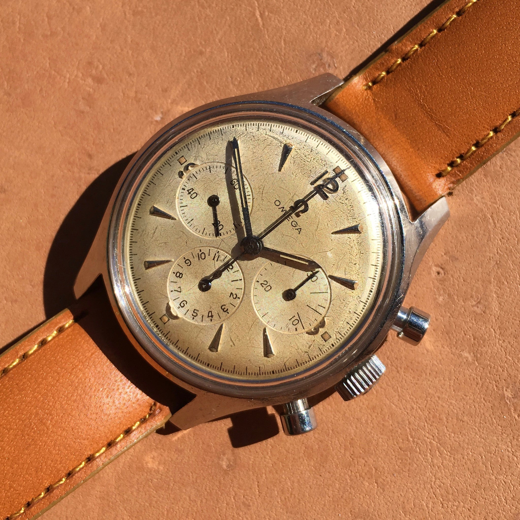 Vintage Omega 2451-6 Steel Chronograph Cal. 321 Manual 1950's Wristwatch 35mm - Hashtag Watch Company