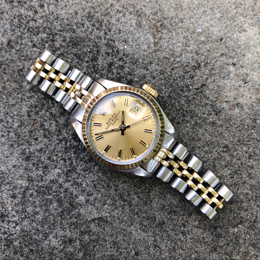 Vintage Rolex Date 6917 Ladies Two Tone Champagne Stick Steel 18K Wristwatch Circa 1979