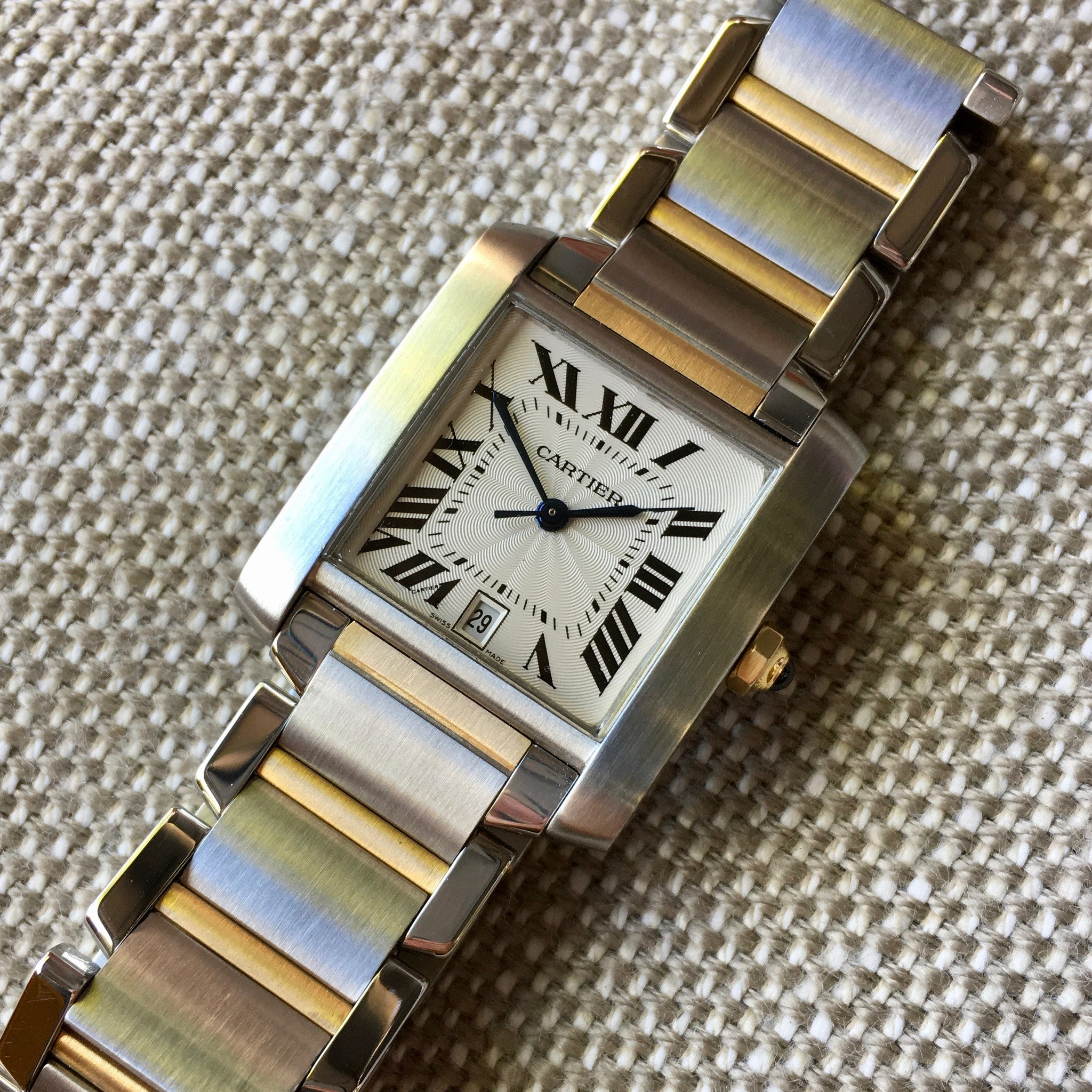 Cartier Tank Francaise 2302 Two Tone Steel 18k Gold 28mm Wristwatch - Hashtag Watch Company