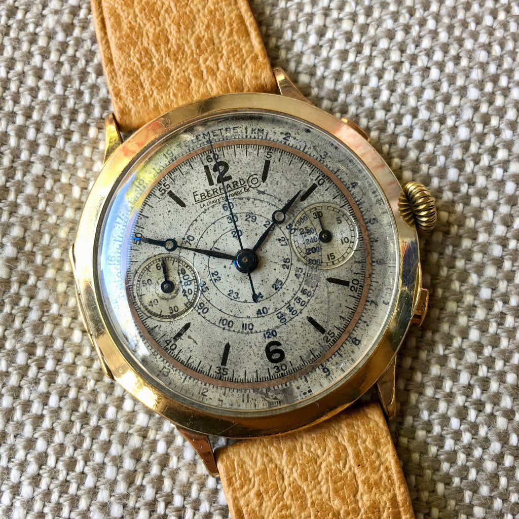 Vintage Eberhard Chronograph 5481 Gold Plated Manual Wind 40mm Large Wristwatch 1940's