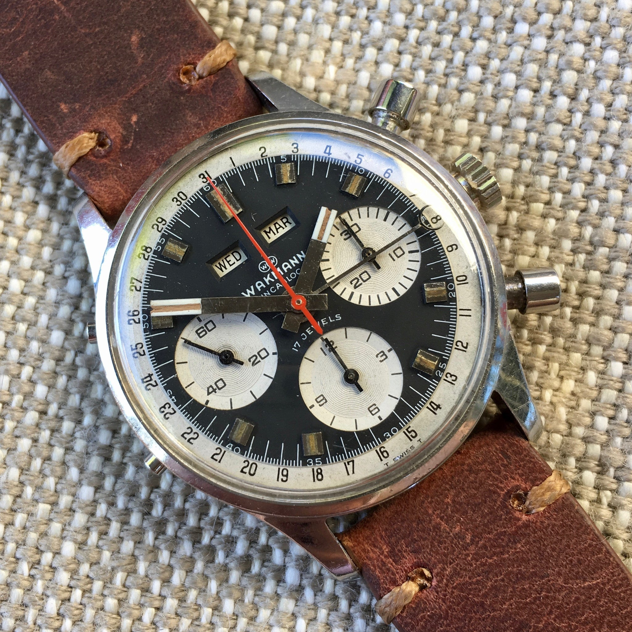 Vintage Wakmann Incabloc Steel Chronograph Triple Date 71.1309.70 Valjoux 730 Watch
