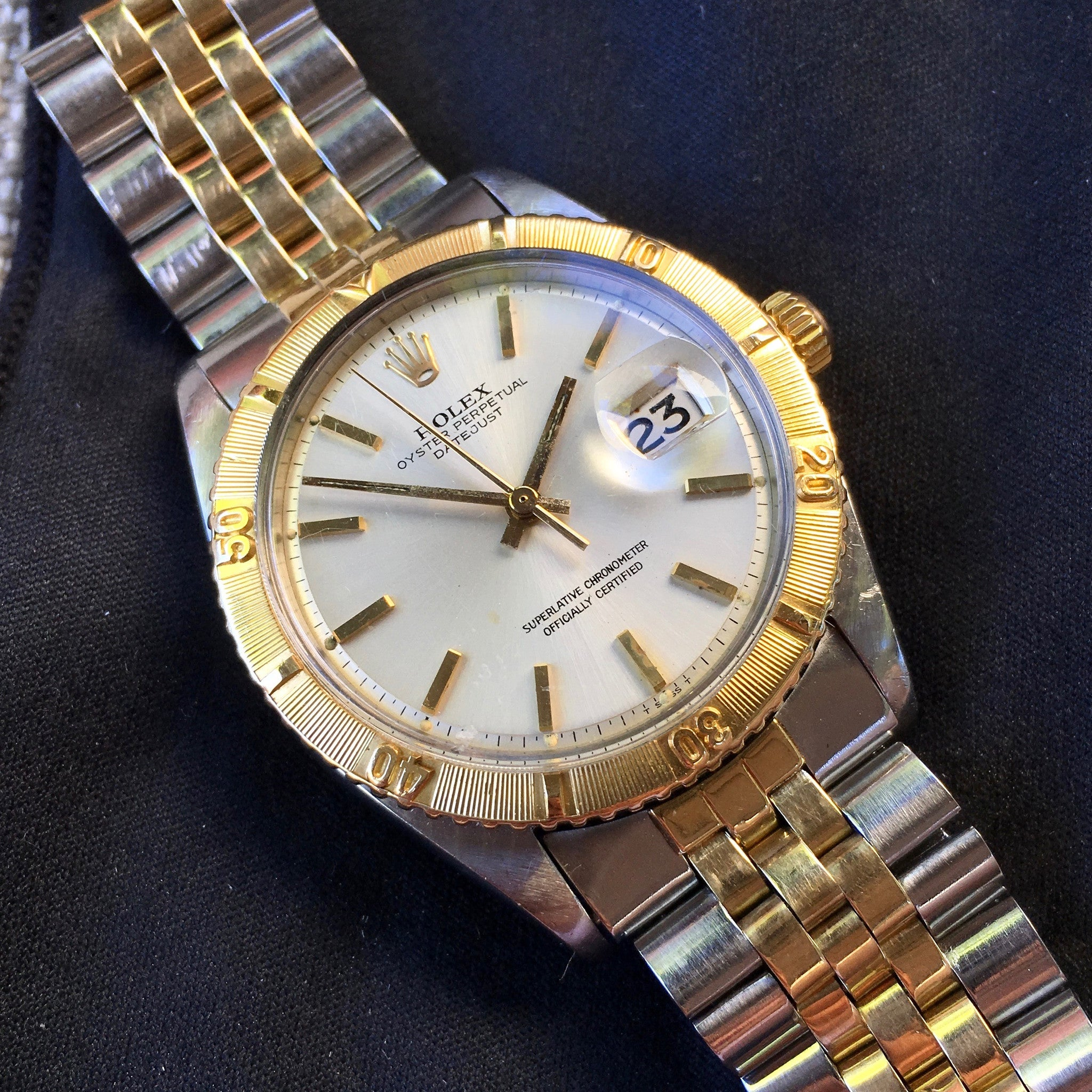 Vintage Rolex Thunderbird Datejust 1625 Two Tone 14K Steel 1968 Cal. 1570 Jubilee Watch - Hashtag Watch Company