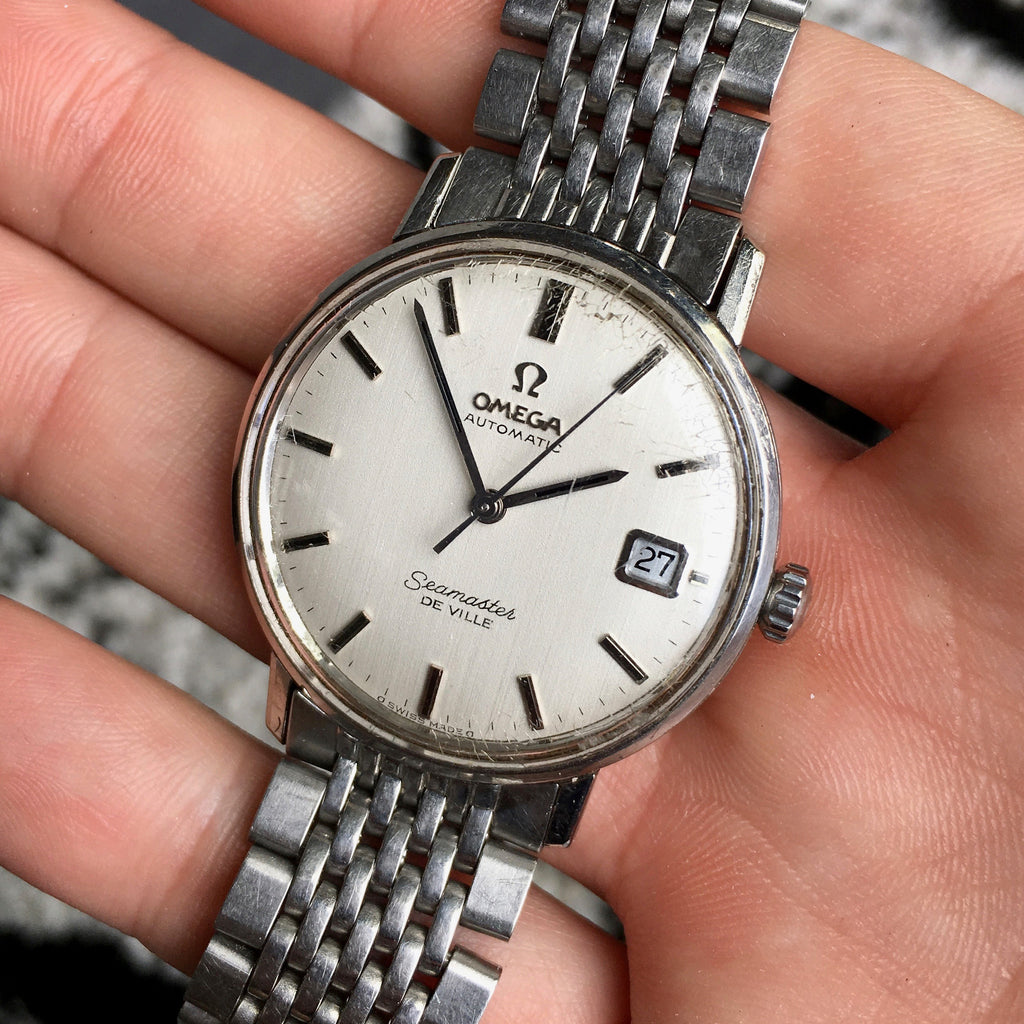 Vintage Omega Seamaster De Ville Caliber 563 Stainless Steel Date White Brushed Dial 1970's Watch