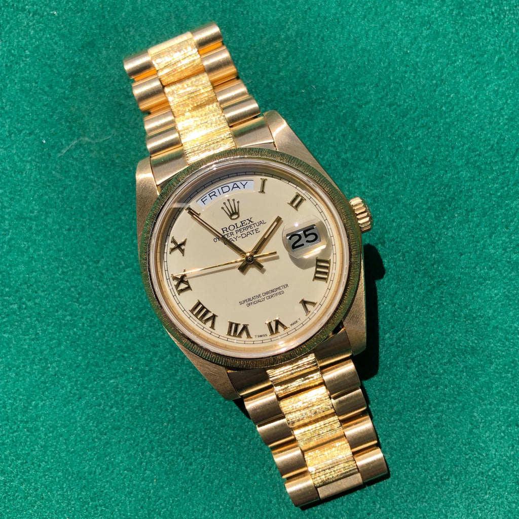 Rolex President 18078 Bark Day Date 18K Yellow Gold Cal. 3055 Roman Ivory Wristwatch Box Papers Circa 1983