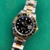 Rolex GMT MASTER II 16713 Steel Gold Oyster Two Tone Black Wristwatch Box Papers Circa 1997