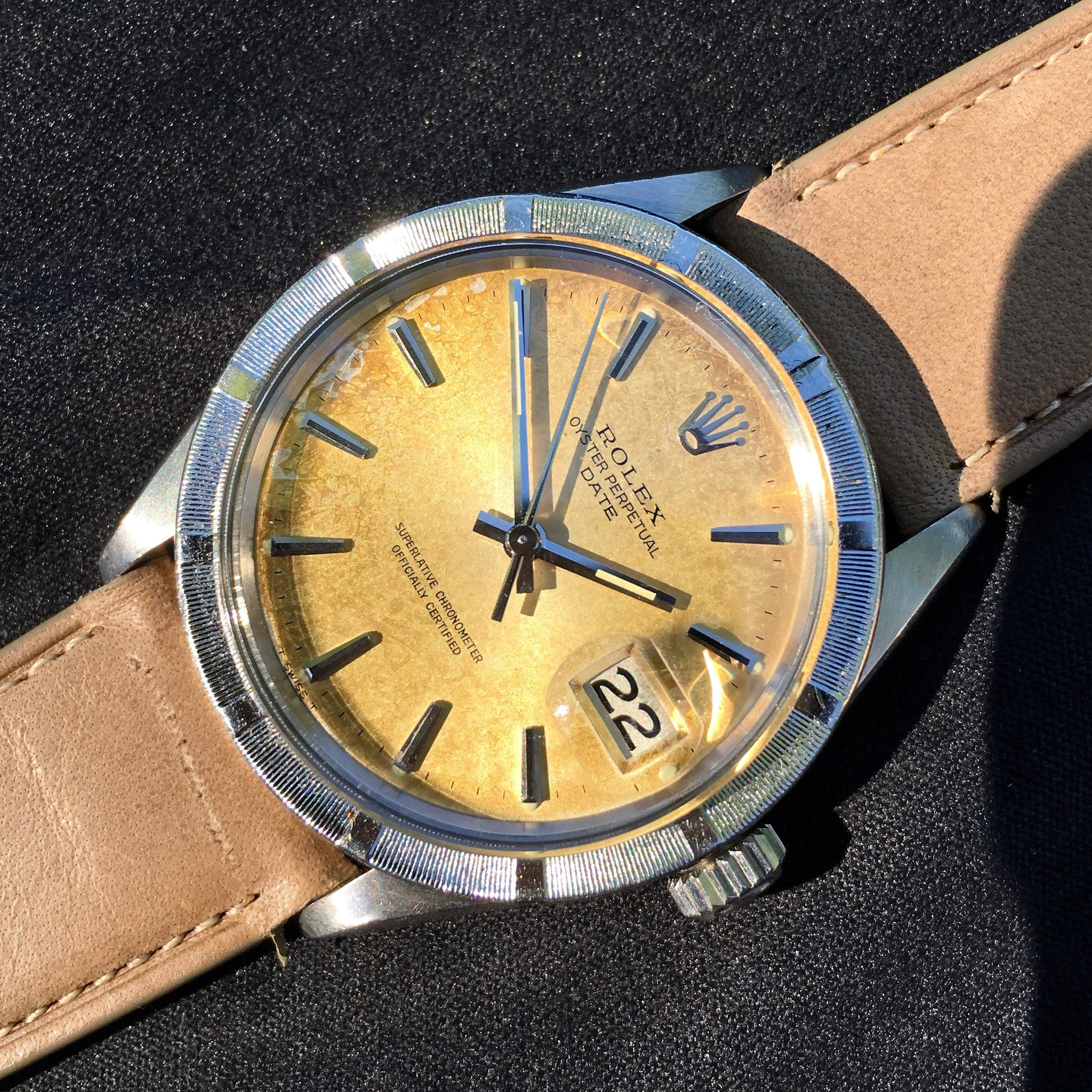Vintage Rolex Date 1501 Tropical Creme Brûlée Stainless Steel Caliber 1570 Wristwatch 1968 - Hashtag Watch Company