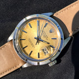 Vintage Rolex Date 1501 Tropical Creme Brûlée Stainless Steel Caliber 1570 Wristwatch 1968