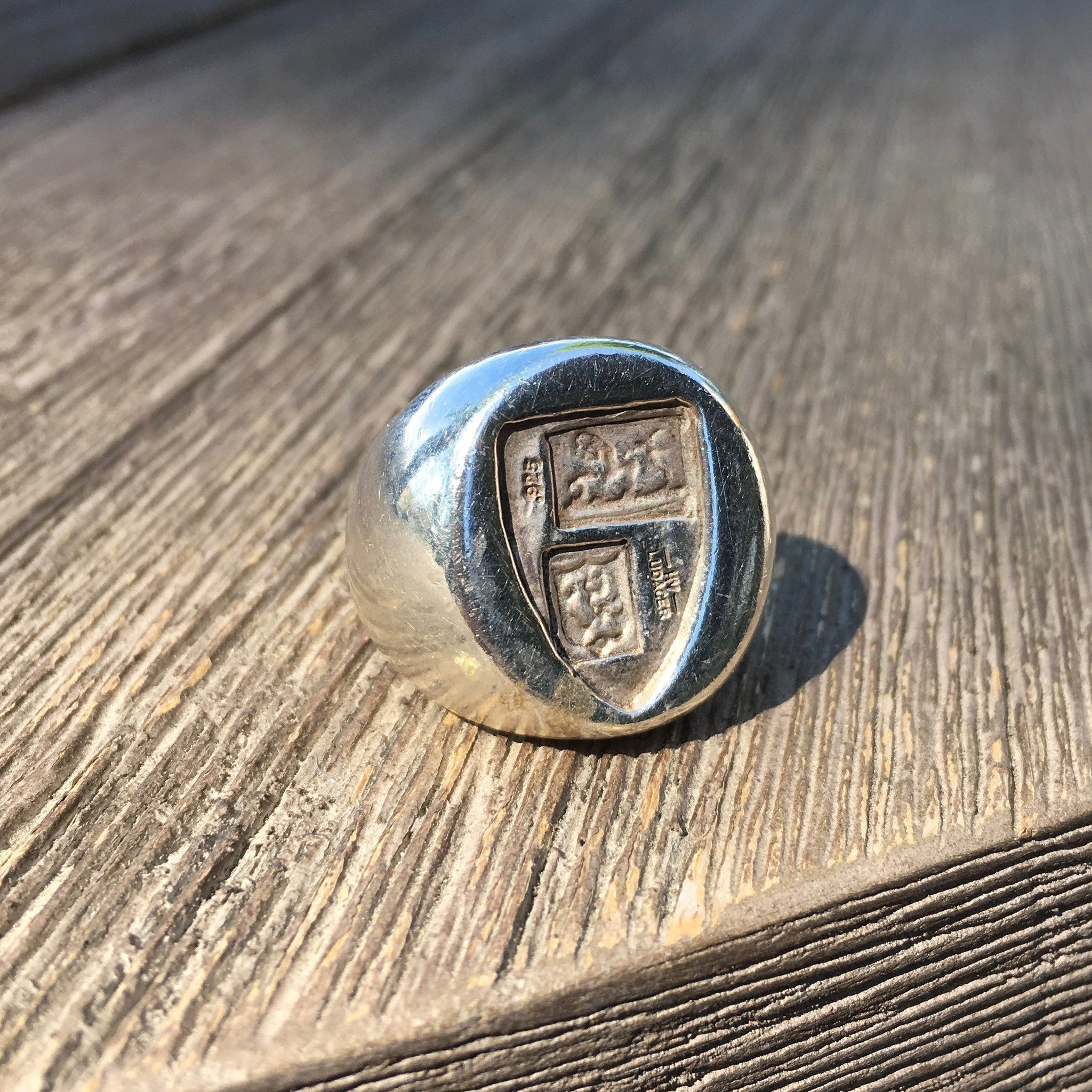 Vintage Mens Sterling Silver Coat of Arms COA Signet Crest Large HV Ludager Ring - Hashtag Watch Company