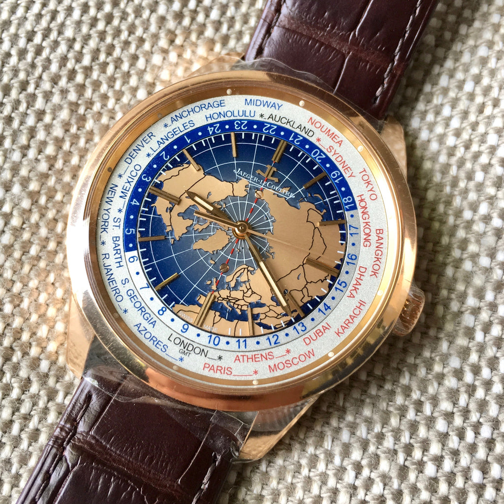 Jaeger LeCoultre Geophysic Universal Time Q8102520 Automatic Blue Lacquer Dial 18K Pink Gold Wristwatch