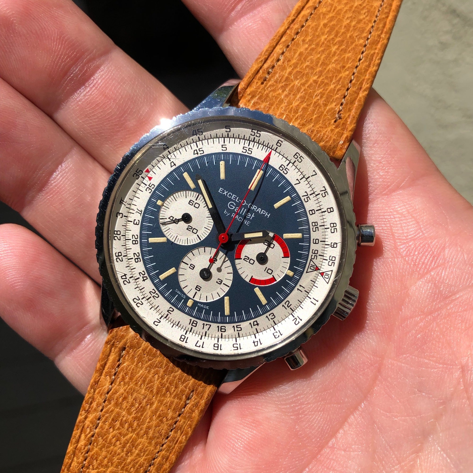 Vintage Gallet MultiChron Racine Excel-O-Graph Steel Chronograph EP 40.68 Wristwatch - Hashtag Watch Company