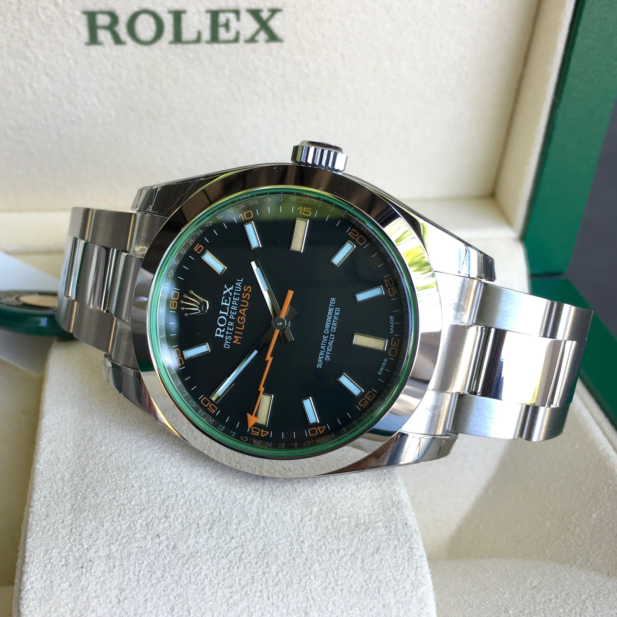 Rolex Milgauss Green 116400GV Stainless Steel Wristwatch Box Papers Circa 2017