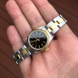 Rolex Oyster Perpetual 67243 Ladies Black Two Tone Steel Gold Wristwatch Box Papers