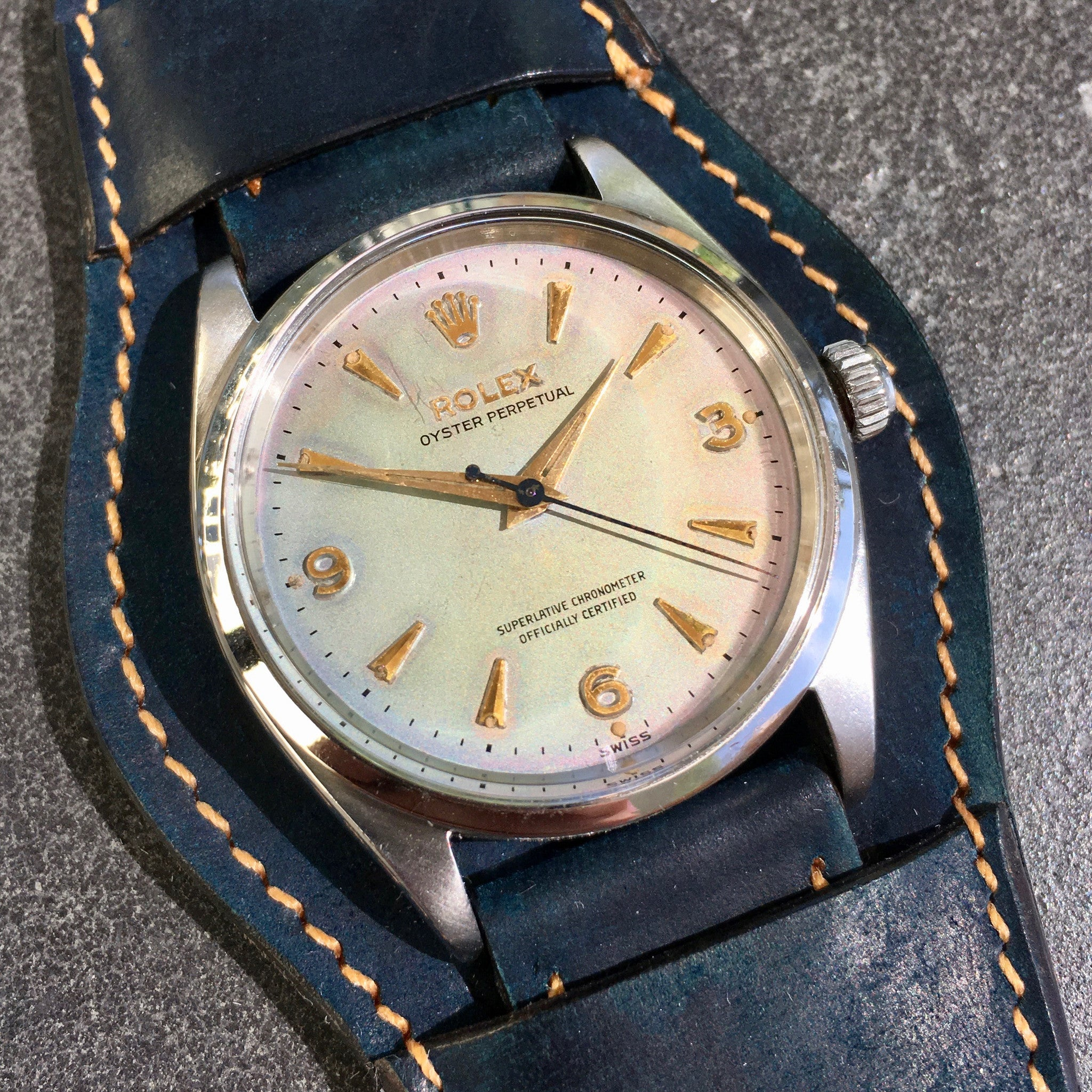 Vintage Rolex Oyster Perpetual 1002 RARE Iridescent Stainless Steel 1960 Wristwatch - Hashtag Watch Company