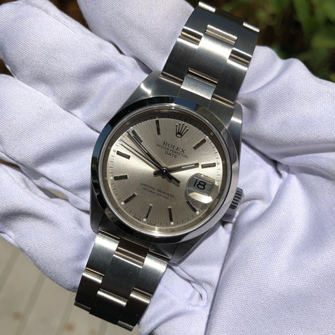 Rolex Date 15200 Oyster Perpetual Stainless Steel Silver Date Automatic Wristwatch Box & Papers Circa 2005 LNOS