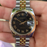 Rolex Datejust 116233 Black 50th Anniversary Jubilee Cal. 3135 Two Tone Steel 18K Wristwatch Circa 2005 - Hashtag Watch Company