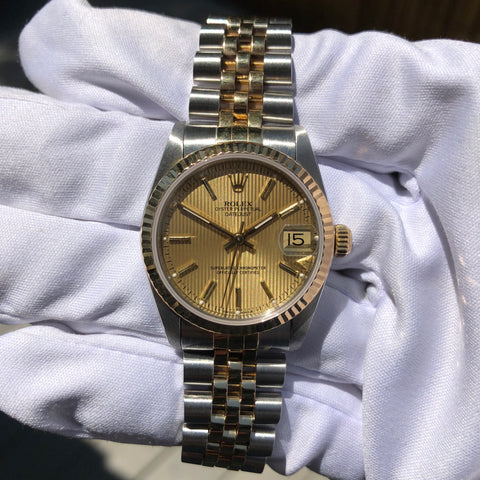 Rolex Datejust 68273 Mid Size Ladies Two Tone Tapestry Champagne Automatic Wristwatch Circa 1995
