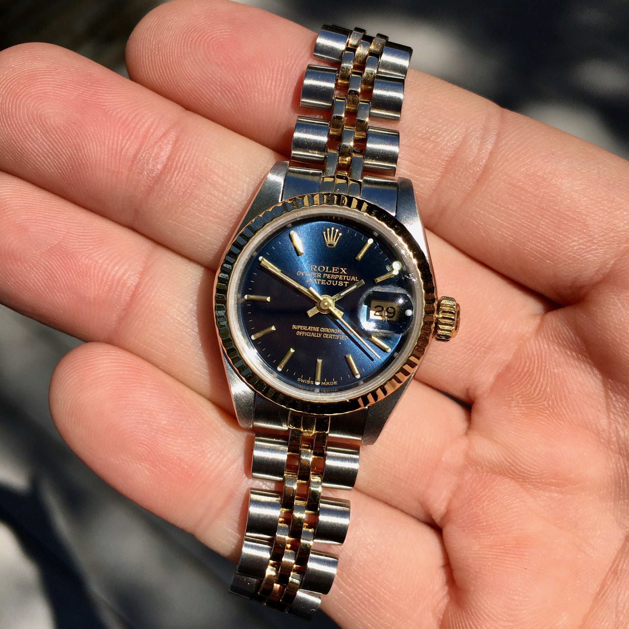 Rolex Datejust 69173 Blue Dial Ladies Two Tone Steel Gold Jubilee Wristwatch 1986 - Hashtag Watch Company