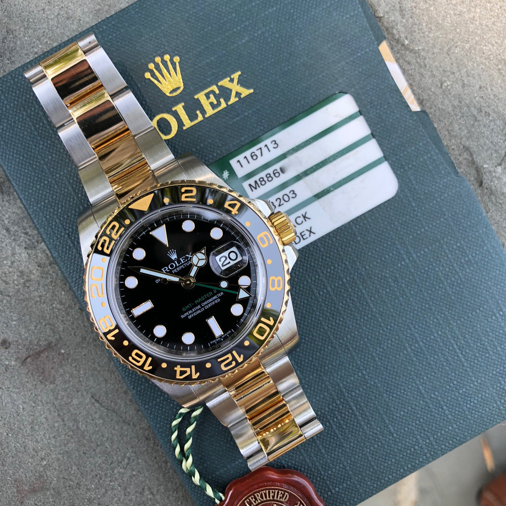 "Rolex GMT Master II 116713 Two Tone Steel Gold ""M"" Serial Watch Box Papers Circa 2007"